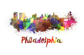 Philadelphia skyline in watercolor — Zdjęcie stockowe