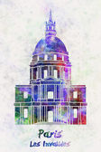 Paris Landmark Les Invalides in watercolor — Stock Photo