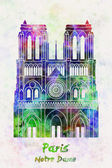 Paris Landmark Notre Dame in watercolor — Stock Photo