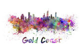 Gold Coast skyline in watercolor — Stock Photo