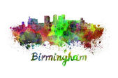 Birmingham skyline in watercolor — 图库照片