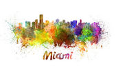 Miami skyline in watercolor — Foto de Stock