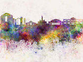Nicosia skyline in watercolor background — Stock Photo