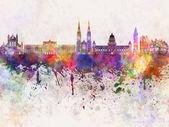 Belfast skyline in watercolor background — Stock Photo