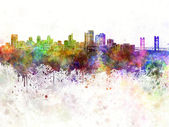 Sacramento skyline in watercolor background — Stock Photo
