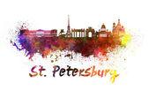 Saint Petersburg skyline in watercolor — Stock Photo