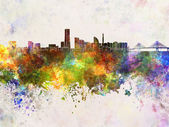 Yokohama skyline in watercolor background — Stock Photo