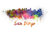 San Diego skyline in watercolor — Stock Photo
