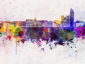 Nantes skyline in watercolor background — Foto Stock