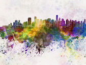 Vancouver skyline in watercolor background — Stockfoto