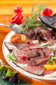 Roast beef with horseradish — Stock Photo