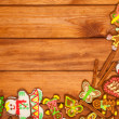 Gingerbread, Christmas cookies, top view, brown background - Stock Photo