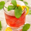 Red drink with decoration sage - Stock Photo
