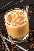 Coffee drink on a black background — Stock Photo