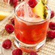 Drink with raspberry, pineapple and peach — Stock Photo