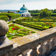 Flower garden of Castle in Kromeriz, Czech Republic. UNESCO World Heritage Site. - Stock Photo