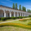 Colonnade in Flower garden in Kromeriz, Czech Republic. UNESCO World Heritage Site. - Stock Photo
