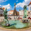 OLOMOUC, CZECH REPUBLIC - AUGUST 08, 2012: Main square with 35 meters high The Holy Trinity column. Built in honor of God. World Heritage Site by UNESCO. - Stock Photo
