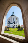 ZELENA HORA, NEAR ZDAR NAD SAZAVOU, CZECH REPUBLIC - AUGUST 15, 2012: The Pilgrim Church of St. John of Nepomuk. World Heritage Site by UNESCO. — Stock Photo