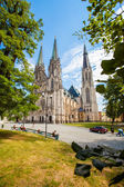 OLOMOUC, CZECH REPUBLIC - AUGUST 08, 2012: Holy Vaclav Cathedral (Saint Wenceslas Cathedral) church with 100 meters high steeple. Build in 1107 year. — Stock Photo