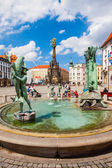 OLOMOUC, CZECH REPUBLIC - AUGUST 08, 2012: Main square with 35 meters high The Holy Trinity column. Built in honor of God. World Heritage Site by UNESCO. — Stock Photo