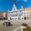 Stock Photo: CESKE BUDEJOVICE, CZECH REPUBLIC - AUGUST 12, 2012: Renesance Town Hall on the main square build in XV century.