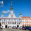 Ceske Budejovice, Czech Republic, August 12, 2012: Renesance Town Hall on the main square build in XV century. - Stock Photo