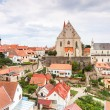 Panorama of Znojmo. Church of St. Nicholas and St. Wenceslas Chapel, Czech Republic. - Stock Photo