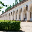 Kromeriz, Czech Republic August 15, 2012: Colonnade of length 224 m with statues depicting characters from Greek mythology, UNESCO World Heritage Site. — Foto de Stock