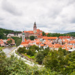 Panorama of Cesky Krumlov, Czech Republic. World Heritage Site by UNESCO. - Stock Photo