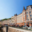Karlove Vary, Czech Republic - August 13, 2012: Karlove Vary (Carlsbad) town is famous for its hot springs and international film festival. - Foto de Stock