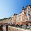 Karlovy Vary, Czech Republic - August 13, 2012: Karlovy Vary (Carlsbad) town is famous for its hot springs and international film festival. — Stock Photo