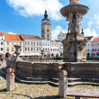 Ceske Budejovice, Czech Republic - August 12, 2012: Town Square, his is a second largest square in Czech Republic. — Stock Photo