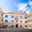 Litomysl, Czech Republic - August 14, 2012: Renaissance arcaded palace decorated with sgraffito. UNESCO World Heritage Site. - Zdjęcie stockowe