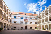 Litomysl, Czech Republic - August 14, 2012: Renaissance arcaded palace decorated with sgraffito. UNESCO World Heritage Site. — Stockfoto