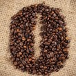 Coffee beans shape made with coffee - Stock Photo