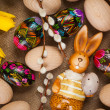 Easter decoration with colorful eggs - Stock Photo