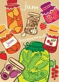 Glass Jars, jam, homemade preserves, vector illustration — Stock Vector