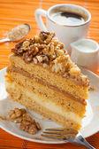 Walnuts cake and coffee — Stock Photo