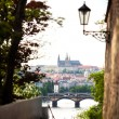 Stock Photo: Prague, Czech Republic View of the Prague Castle from Visegrad, visible Vltava river