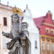 Stock Photo: Telc - Czech Republic Old UNESCO city Old sculpture of saint Marketpatroness of Telc city Sculpture made in second part of XVII century