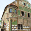 Stock Photo: Telc - Unesco city Czech Republic Number 15 town house with bay Front with sgraffitto discovered in 1952