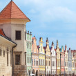 Stock Photo: Telc, Czech Republic - May 10, 2013: row of old Renesaince houses. One of most beautiful markets in Europe. UNESCO World Heritage Site.