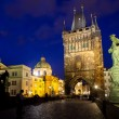 Stock Photo: Prague, Czech Republic The night View on Charles Bridge The Old Town Bridge Tower in east end of the bridge