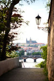 Prague, Czech Republic View of the Prague Castle from Visegrad, visible Vltava river — Stock Photo