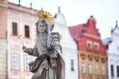 Telč - česká republika staré unesco město staré sochy svatého markéta patronkou telč město sochařství v druhé části xvii století — Stock fotografie