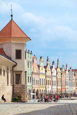 Telc, Czech Republic - May 10, 2013: A row of old Renesaince houses. One of the most beautiful markets in Europe. UNESCO World Heritage Site. — Stock Photo