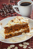Carrot cake and coffee — Stock Photo