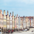 Stock Photo: Telc, Czech Republic - May 10, 2013: Unesco city. row of houses on main square.