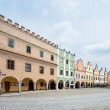 Telc, Czech Republic Unesco city A row of the houses on main square — Stock Photo #28931653